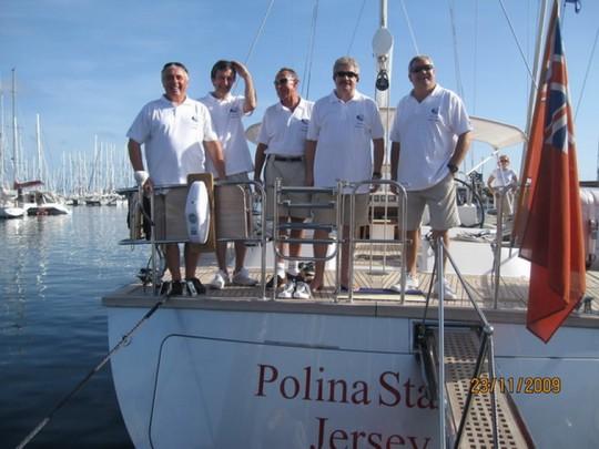 экипаж яхты Polina Star 2, слева-направо - Александр Ежков, Олег Прицкау, Виталий Кусаков, Леонид Макарон, Сергей Маслов